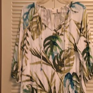 Chico's Size 4 Island Floral White Green soft top